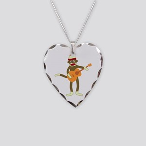 Sock Monkey Acoustic Guitar Necklace Heart Charm