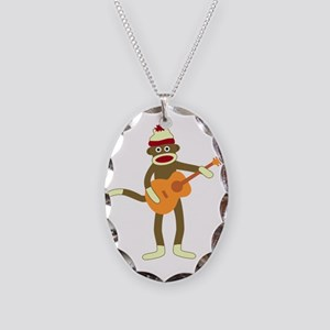 Sock Monkey Acoustic Guitar Necklace Oval Charm