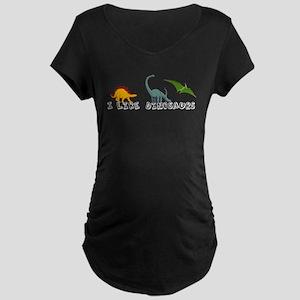 I Like Dinosaurs Maternity Dark T-Shirt