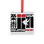 USA Jiu-Jitsu News Square Glass Ornament