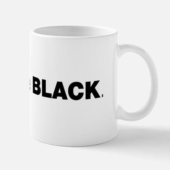 Helvetica Typography Black Coffee Mug