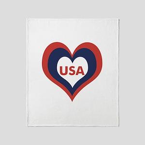 USA Heart - Throw Blanket