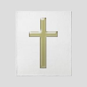 Gold Glass Cross - Throw Blanket