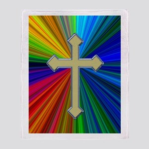 Gold Cross on Prism - Throw Blanket