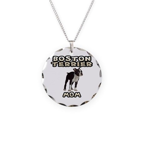 Boston Terrier Mom Necklace Circle Charm