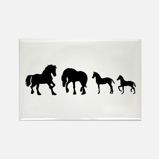 Cute Fresian horse Rectangle Magnet