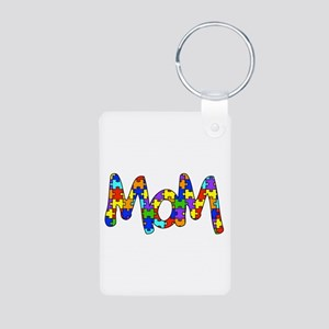 Mom Autism Awareness Aluminum Photo Keychain