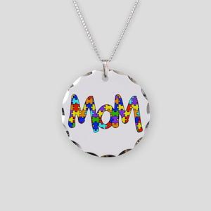 Mom Autism Awareness Necklace Circle Charm