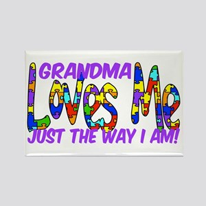 Grandma Loves Me Autism Aware Rectangle Magnet