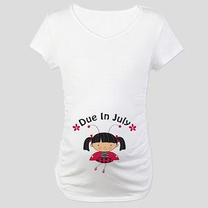 July Ladybug Due Date Maternity T-Shirt