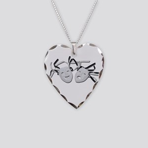 Comedy Tragedy Faces Necklace Heart Charm