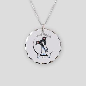 White Black Greyhound IAAM Necklace Circle Charm