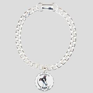 White Black Greyhound IAAM Charm Bracelet, One Cha