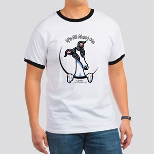 White Black Greyhound IAAM Ringer T