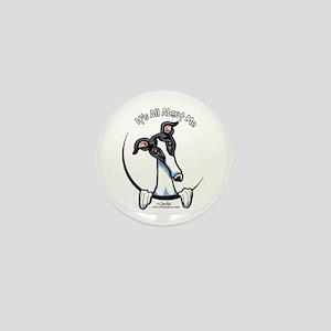 White Black Greyhound IAAM Mini Button