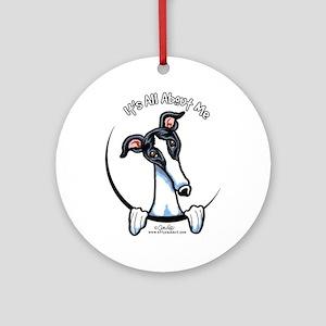White Black Greyhound IAAM Ornament (Round)
