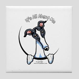 White Black Greyhound IAAM Tile Coaster