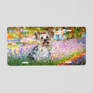 Garden-Yorkshire Terrier-T Aluminum License Plate
