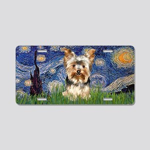 Starry Night Yorkie 17 Aluminum License Plate