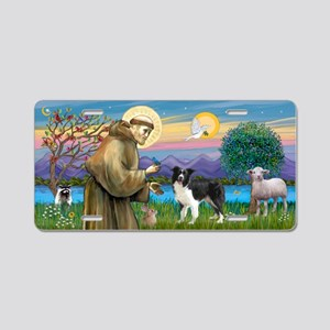 St Francis / Border Collie Aluminum License Plate