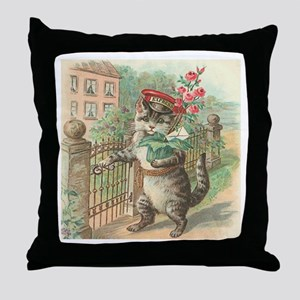 Victorian Delivery Cat Throw Pillow