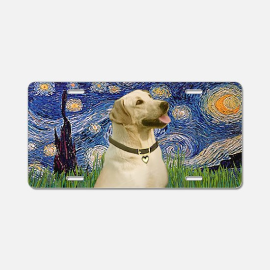 Starry / Yellow Labrador Aluminum License Plate