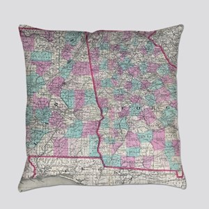 Vintage Map of Alabama and Georgia Everyday Pillow