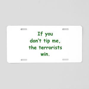 Tip Me Aluminum License Plate