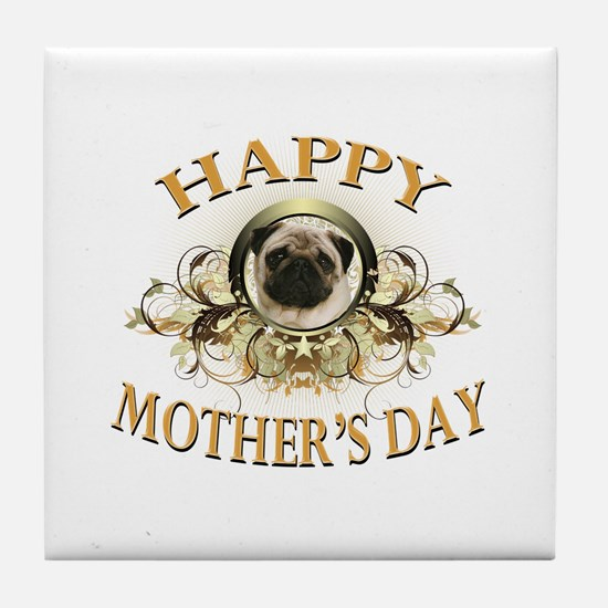 Happy Mother's Day Pug Tile Coaster