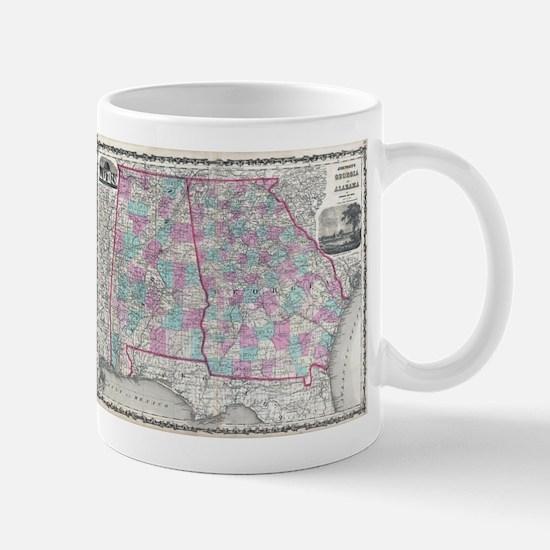 Vintage Map of Alabama and Georgia (1862) Mugs