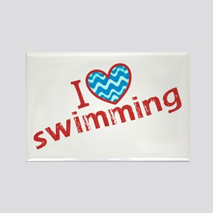I heart (love) Swimming Rectangle Magnet
