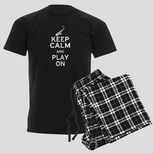 Keep Calm and Play On (Sax) Men's Dark Pajamas