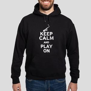 Keep Calm and Play On (Sax) Hoodie (dark)