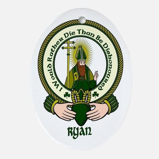 Ryan Clan Motto Oval Ornament