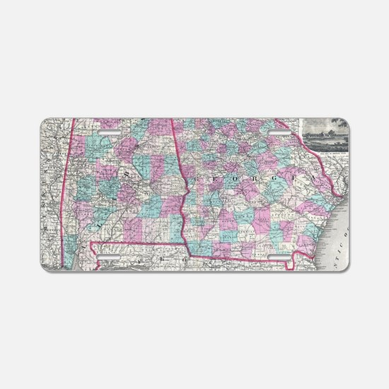 Vintage Map of Alabama and Aluminum License Plate