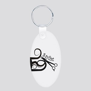 Hair Stylist/Beauticians Aluminum Oval Keychain