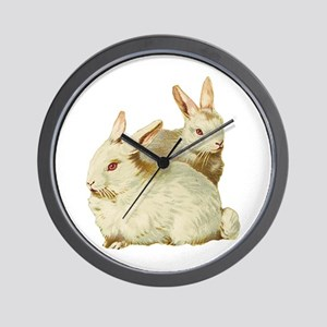 Two White Bunnys Wall Clock