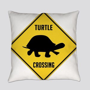 Turtle Crossing Sign Everyday Pillow