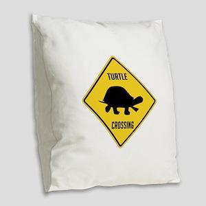 Turtle Crossing Sign Burlap Throw Pillow