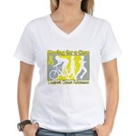 Bladder Cancer Moving Cure Women's V-Neck T-Shirt