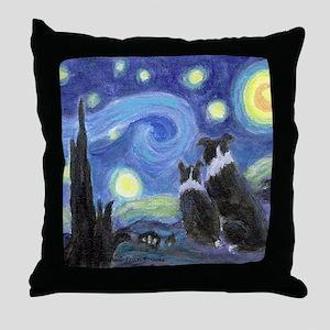 Starry Night Border Collies Throw Pillow