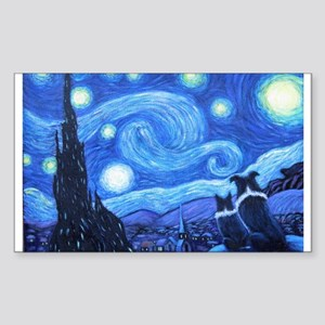 Starry Night Border Collies Sticker (Rectangle)