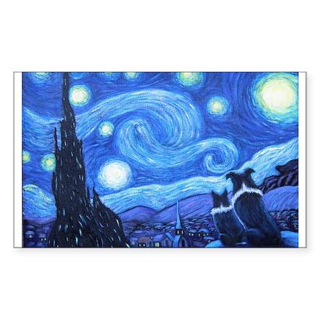 Starry Night Border Collies Sticker (Rectangle)