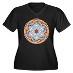 April Rain Mandala Women's Plus Size V-Neck Dark T
