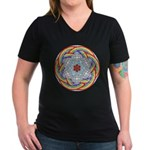 April Rain Mandala Women's V-Neck Dark T-Shirt