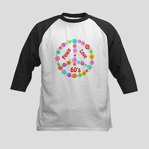 60s Peace Sign Kids Baseball Jersey
