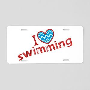 I heart (love) Swimming Aluminum License Plate