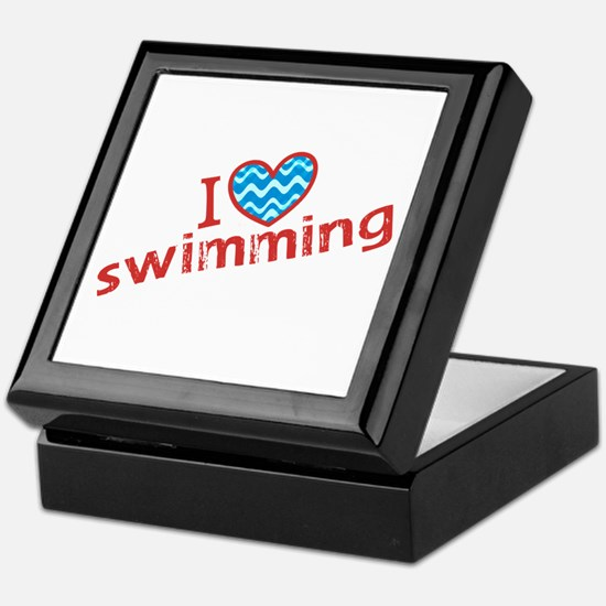 I heart (love) Swimming Keepsake Box