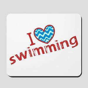 I heart (love) Swimming Mousepad