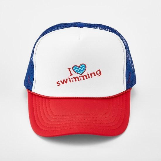 I heart (love) Swimming Trucker Hat